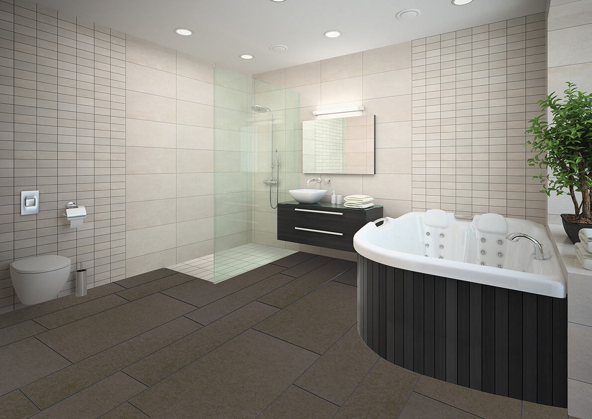 True Grout Tile Bathroom Floor
